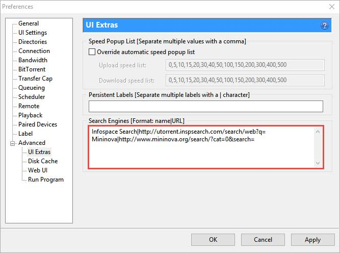 Search Engines field in Advanced options of µTorrent Preferences