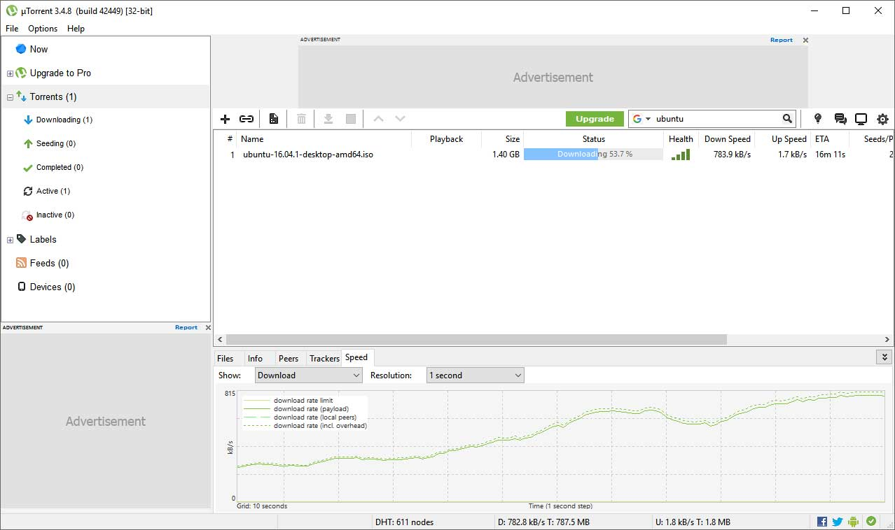 µTorrent user interface