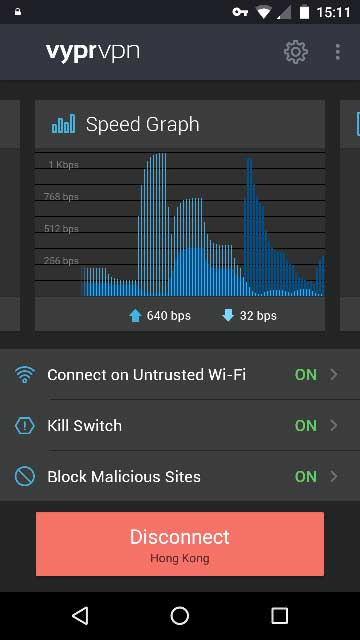 VyprVPN on an Android phone showing the main screen with Speed Graph